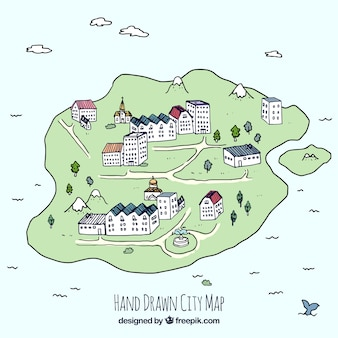 Mano e la mappa della città disegnato