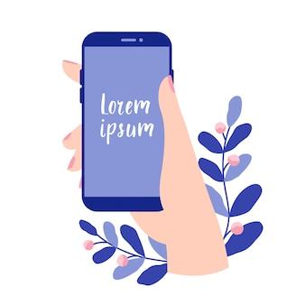Mano femminile che tiene uno smartphone con schermo vuoto. vector smartphone, dispositivo mobile, modello di progettazione app mobile. illustrazione vettoriale piatto nei colori blu.