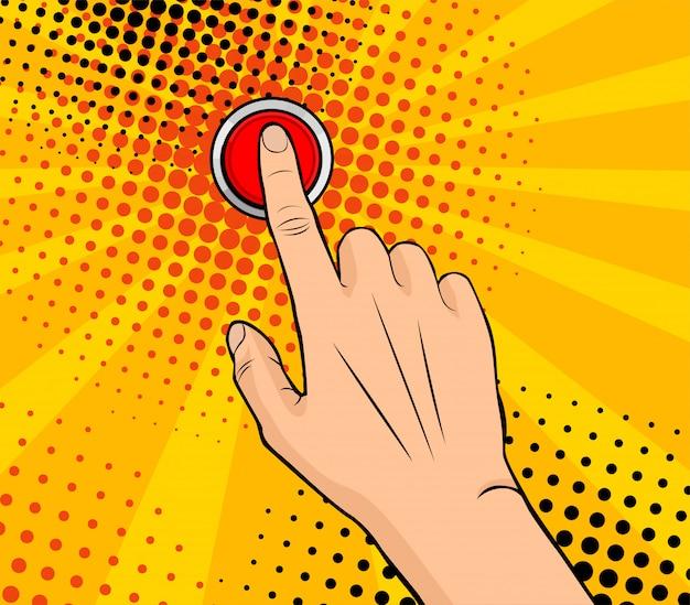Mano femminile di pop art che spinge un bottone rosso