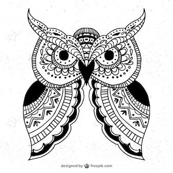 Mano gufo ornamentale disegnato