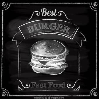 Mano hamburger disegnato in stile lavagna