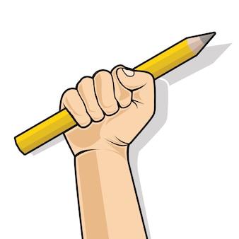 Mano in un pugno che tiene una matita
