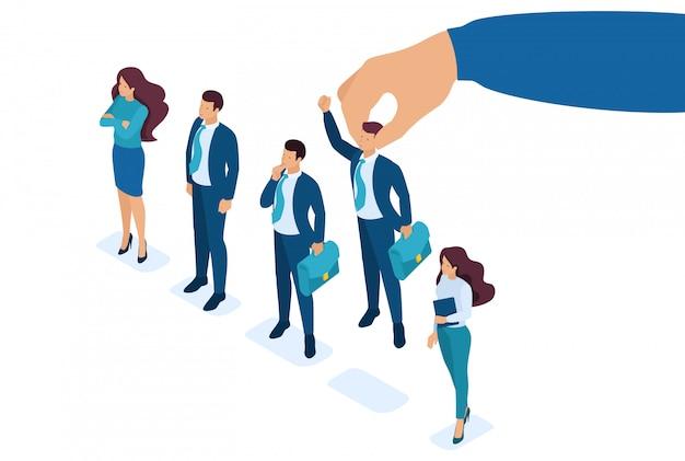 Mano isometrica del datore di lavoro che sceglie uomo dal gruppo di persone selezionato, concetto di reclutamento.