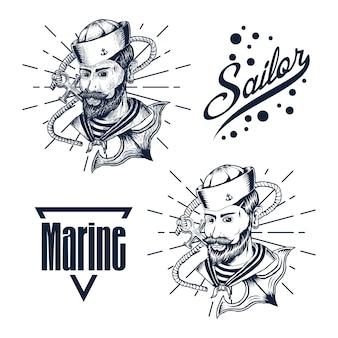 Mano marinaio uomo disegnare illustrazione vettoriale
