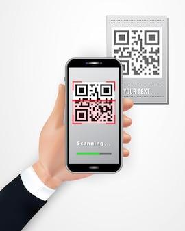 Mano maschio che utilizza smartphone per scansionare il prezzo da pagare del codice qr