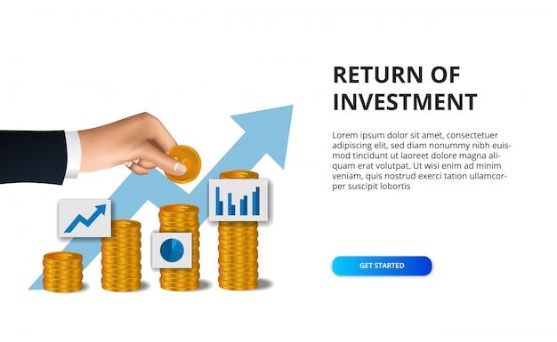 Mano mettere moneta d'oro per la crescita della freccia successo profitto ritorno degli investimenti