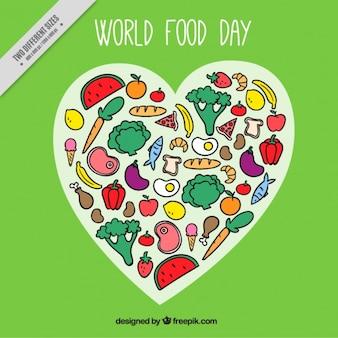Mano mondo disegnato giorno sfondo alimentare