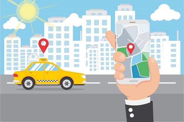 Mano piana che tiene smartphone e chiamata smart taxi