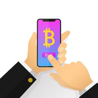 Mano piana dell'uomo d'affari dell'illustrazione che tiene uno smartphone con bitcoin sullo schermo. acquista bitcoin, mining.