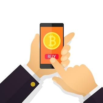 Mano piana dell'uomo d'affari di concetto dell'illustrazione che tiene uno smartphone con bitcoin