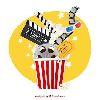 Mano popcorn disegnato elementi cinema pieno