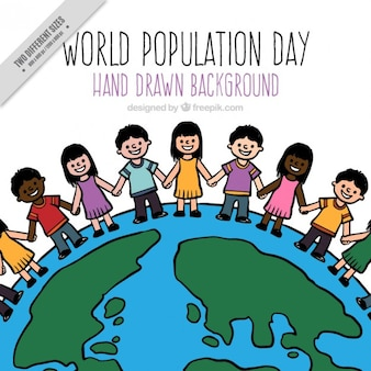 Mano popolazione disegnato in background mondo