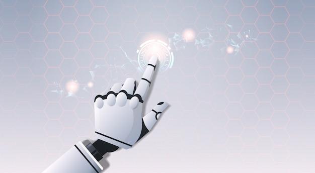 Mano robot toccando astratta interfaccia utente virtuale