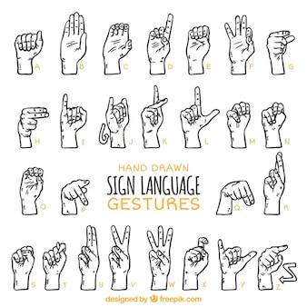 Mano segno disegnato lingua alfabeto