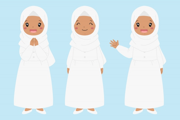 Mano sorridente e d'ondeggiamento della ragazza afroamericana musulmana felice. set di caratteri per bambini musulmani.