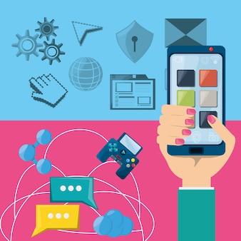 Mano tramite smartphone connesso a internet in tutto il mondo