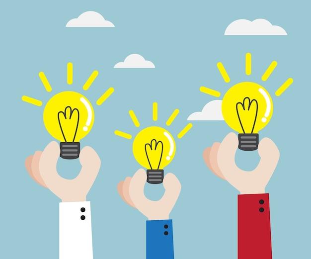 Mano umana con l'illustrazione di vettore di idea della lampadina