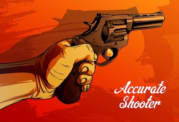 Mano umana del fumetto che tiene vecchio revolver
