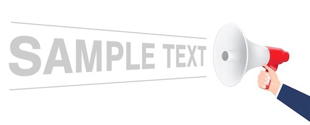 Mano usando il megafono con testo di esempio