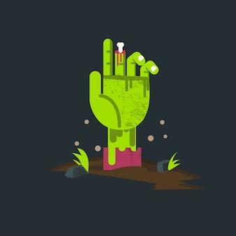 Mano zombi dall'inferno. mano di non morto.