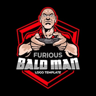 Manopola furious man holding joystick esport logo mascot
