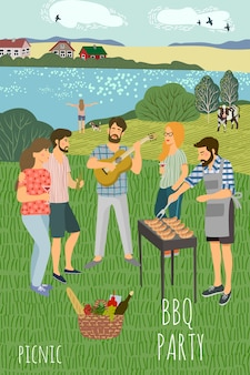 Mans e womans appoggiati sul prato sullo sfondo del paesaggio rurale