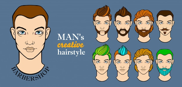 Mans hairstyle elements for barbershop app