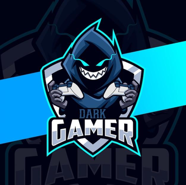 Mantello da gamer scuro design mascotte esport logo