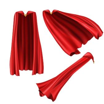 Mantello da supereroe rosso, mantello con spilla d'oro