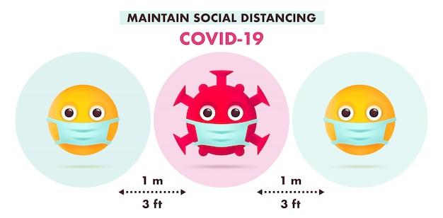 Mantenere il distanziamento sociale nella società pubblica. design infografico covid-19. concetto di quarantena. coronavirus emoji character symbol con maschera medica. illustrazione piatta moderna.
