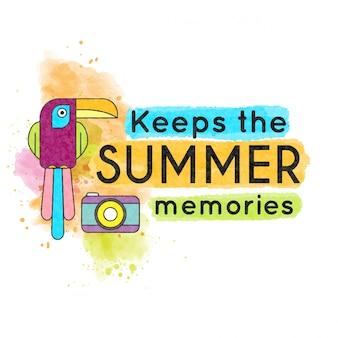Mantiene i ricordi estivi. bandiera dell'acquerello con tucano