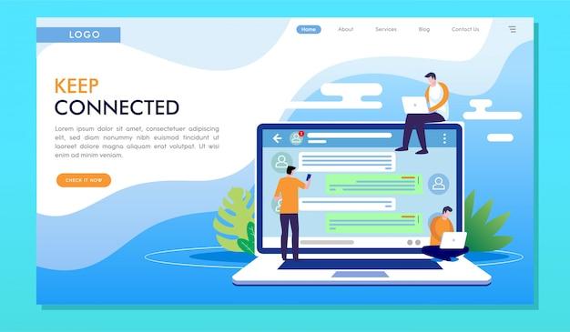 Mantieni la pagina di destinazione del sito web di comunicazione online connesso