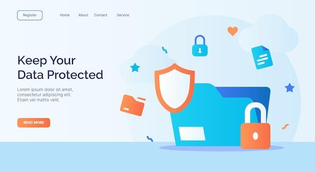 Mantieni la tua campagna icona lucchetto scudo file protetto da dati per il modello di atterraggio della home page del sito web con stile cartoon.