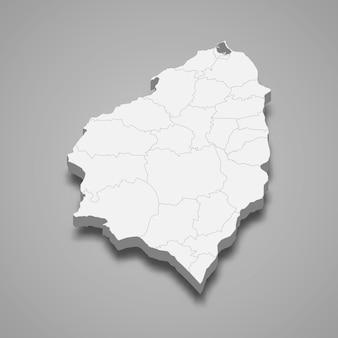 Mappa 3d del dipartimento atlantico della colombia illustrazione
