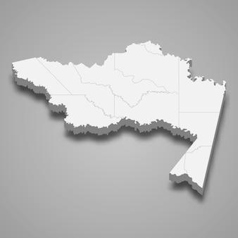 Mappa 3d del dipartimento di amazonas della colombia illustrazione