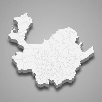 Mappa 3d del dipartimento di antioquia della colombia illustrazione