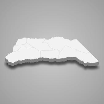 Mappa 3d del dipartimento di arauca della colombia illustrazione