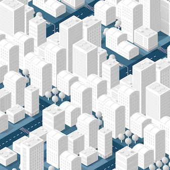 Mappa 3d della città su bianco