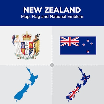Mappa, bandiera e emblema nazionale della nuova zelanda