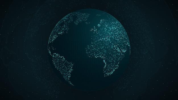 Mappa blu della terra dai punti quadrati. connessione di rete globale, significato internazionale.