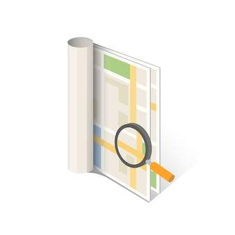 Mappa cartacea con lente d'ingrandimento di ricerca. mappe di navigazione.