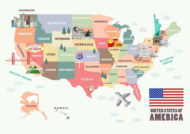 Mappa degli stati uniti d'america con famose attrazioni
