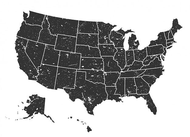 Mappa degli stati uniti d'america. stile grunge