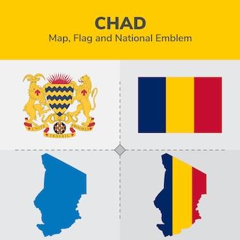 Mappa del chad, bandiera e emblema nazionale