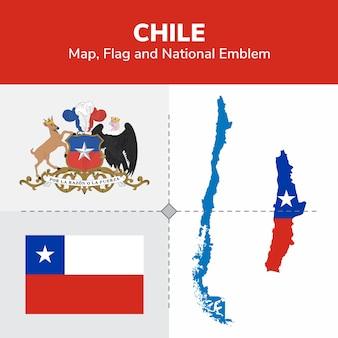 Mappa del cile, bandiera e emblema nazionale