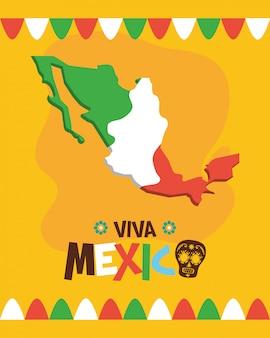 Mappa del messico con bandiera per viva mexico
