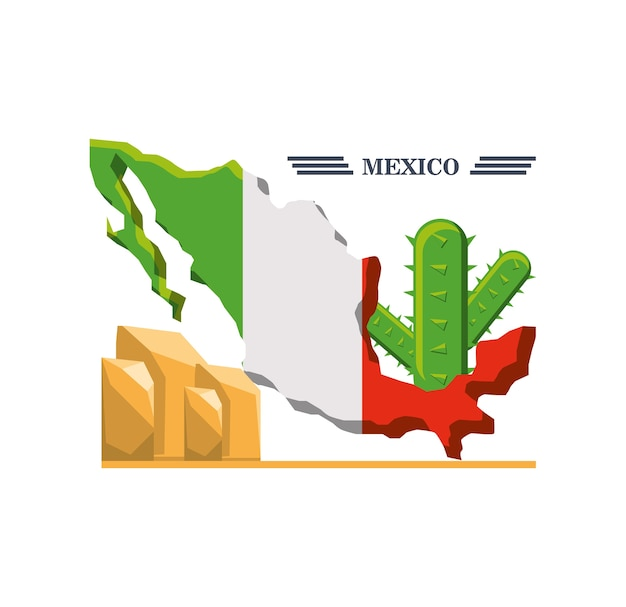 Mappa del messico con elementi messicani