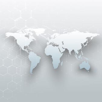 Mappa del mondo bianco, linee e punti di collegamento su sfondo di colore grigio.