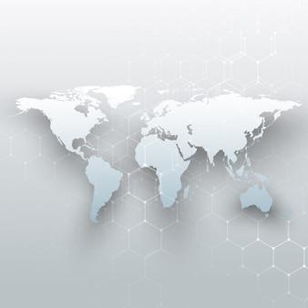 Mappa del mondo bianco, linee e punti di collegamento su sfondo di colore grigio