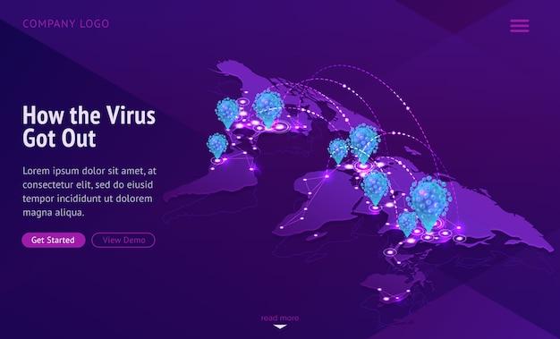 Mappa del mondo che mostra la diffusione della malattia contagiosa